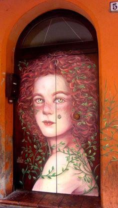 Street art in Bologna, via del Pratello Cool Doors, Unique Doors, Entrance Doors, Doorway, Front Doors, Urbane Kunst, Porte Cochere, When One Door Closes, Door Gate