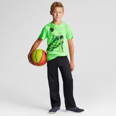 Boys' Graphic Tech T-Shirt - C9 Champion Forging Green Heather XL Basketball Player