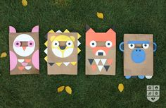 Tutorial for DIY Halloween animal masks out of paper bags Printable Halloween Masks, Diy Halloween Costumes For Kids, Diy Costumes, Costume Ideas, Kids Crafts, Diy Paper Bag, Manualidades Halloween, Quilled Creations, Animal Masks