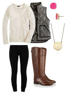 """""""Herringbone Vest"""" by hbcernuto ❤ liked on Polyvore featuring J.Crew, LnA, Tory Burch, Kate Spade and BaubleBar"""