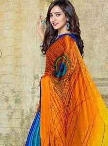 Neha Sharma Orange And Blue Crepe Silk Saree