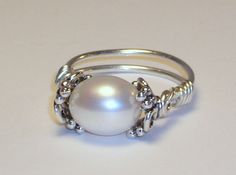 Pearl Ring Sterling Silver Purity Ring by LaurenKusar on Etsy, $32.00