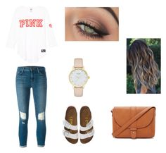 """Cute spring day outfit"" by agrava ❤ liked on Polyvore featuring J Brand, Birkenstock, Forever 21, Kate Spade and tarte"