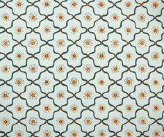 1950's Vintage Wallpaper - Gray-Blue and Orange Geometric