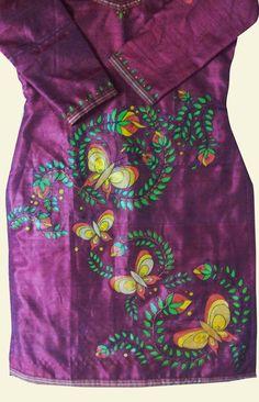 hand painted butterfly motifs on pure silk kurta