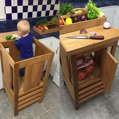 """Helper tower / table / chair all-in-one """"Step'n'sit"""", Montessori learning helper tower, kitchen step stool Kitchen Stools, Wooden Kitchen, Toddler Kitchen, Diy Stool, Learning Tower, Kitchen Helper, Building For Kids, Diy On A Budget, Home Staging"""