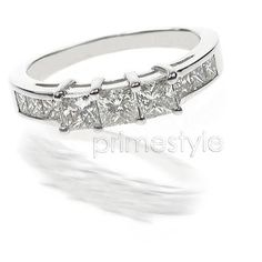 Present yourself with our luxuriant 14KT white gold diamonds wedding band. Composed with 1.10CT princess cut breathtaking diamonds . This wedding band features exquisite diamonds of I-J color and  VS2-SI1 group clarity. Shine with elegance and simplicity with our 14KT white gold diamonds wedding band. - MATCHING BAND TO MY RING