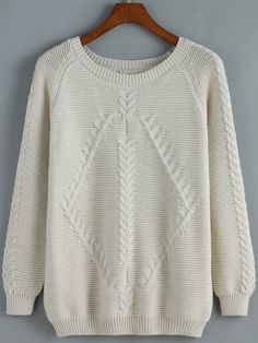 To find out about the Apricot Round Neck Cable Knit Loose Sweater at SHEIN, part of our latest Sweaters ready to shop online today! Loose Knit Sweaters, Fall Sweaters, Sweaters For Women, Sweater Knitting Patterns, 50 Fashion, Fall Wardrobe, Ladies Dress Design, Cable Knit, Lana
