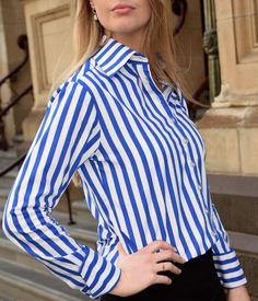 Lawyers' Fashion Shirt, limited edition womens business shirts made in Australia, womens blue white stripe shirt, Corporate Blogger, Fashion Blogger, Business Blogger, The Shirt Muse, business woman. Blue Shirt Outfits, Uni Outfits, Fashion Outfits, Church Outfits, Victoria Fashion, Victoria Style, Lawyer Fashion, Blue And White Striped Shirt, Business Shirts