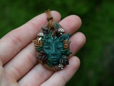 Forest Spirit, Clay, Pendant, Plant Folk, Mushroom Elf, Druid, Pagan, Spiritual…
