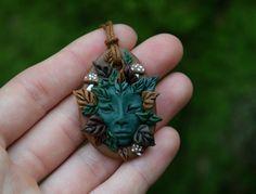 Forest Spirit, Clay, Pendant, Plant Folk, Mushroom Elf, Druid, Pagan, Spiritual…