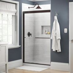 Delta Simplicity 48 in. x 70 in. Semi-Frameless Traditional Sliding Shower Door in Bronze with Clear - The Home Depot Delta Simplicity 48 in. x 70 in. Semi-Frameless Traditional Sliding Shower Door in Bronze with Clear Glass - 2421840 - The Home Depot Glass Shower Panels, Glass Panels, Shower Door Handles, Traditional Bathtubs, Custom Shower Doors, Bathtub Doors, Frameless Sliding Shower Doors, Have A Shower, Shower Base