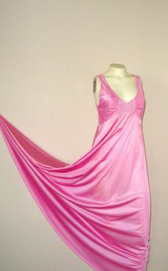 Vintage Lingerie Nightgown Vanity Fair Embroidered Pink Gown