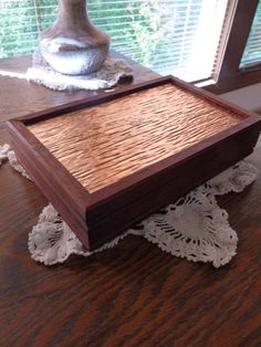 Handcrafted Jewelry/ Keepsake Box In Padauk With Copper Lid And Ebony Keys
