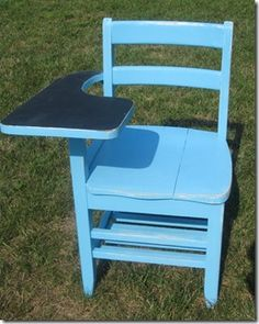 Old school desk robin's egg blue