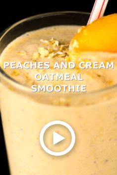 Peaches and Cream Oatmeal Smoothie will give you the energy to start the day. Also a great recovery drink after a work out!This Peaches and Cream Oatmeal Smoothie will give you the energy to start the day. Also a great recovery drink after a work out! Oatmeal Smoothies, Breakfast Smoothies, Fruit Smoothies, Healthy Smoothies, Healthy Drinks, Healthy Recipes, Pumpkin Smoothie, Peach Smoothie Recipes, Strawberry Smoothie
