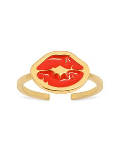'Punk Kiss' midi ring with charm: a thin band midi ring with signature 'Kiss stamp' enamelled charm in red. Opened at the back for adjustable sizing. Swarovski Stones, Jewelry Shop, Amethyst, Kiss, Punk, Stamp, Colours, Red, Jewelry