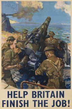 Terence Cuneo 1942 British propaganda poster world war two gun Help Britain Finish the Job