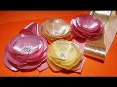 Fabric flowers how to make:elegant satin ribbons flower/Элегантный цветок из атласных лент - YouTube