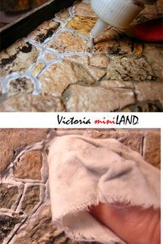 WONDERFUL TUTORIAL - for creating realistic stone walls and the entire house - for dollhouse, miniature, fairy garden - Victoria Miniland - Egg Carton Stone Wall or Floor Class (Pg 2)