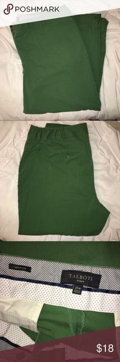 Talbots Heritage Green Pant Kelly green Talbots pants. These pants are in great condition. Size 20W and have a partial elastic waistband for added comfort!! Talbots Pants