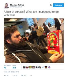 miraculous ladybug | Tumblr Twitter thomas astruc tweet Box of cereals, lucky charms -what am I supposed to do with this?-