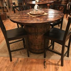 This is my newest whiskey barrel table. I used an actual Jim Beam barrel and sta… This is my newest whiskey barrel table. I used an actual Jim Beam barrel and sta…,barrels This is. Whiskey Barrel Decor, Whiskey Barrel Furniture, Wine Barrel Table, Whiskey Barrels, Wine Table, Spool Chair, Spool Tables, Whiskey Room, A Table