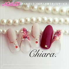 Flower. & アクセサリー♡ nail (Red.)Instagram → yochan4.nail|ネイルデザインを探すならネイル数No.1のネイルブック