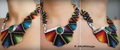 Cavandoli macrame STATEMENT necklace RAINBOW with semiprecious stone in sterling SILVER, fiber necklace made to order