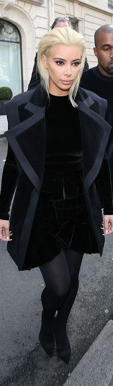 Who made Kim Kardashian's black velvet dress and coat?