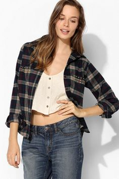 Lovers + Friends Studded Flannel Boyfriend Shirt #urbanoutfitters