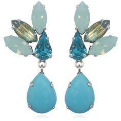 Feathered Turquoise Rhinestone Earrings, Clip-Ons (5.115 RUB) ❤ liked on Polyvore featuring jewelry, earrings, vintage rhinestone earrings, swarovski crystal earrings, feather earrings, long rhinestone earrings and vintage earrings