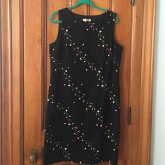 Talbots Black Dress w/ Silk Detail Embroidery Lovely lined dress with beautiful silk flower embroidery.  This dress was only worn once & then dry cleaned. Talbots Dresses