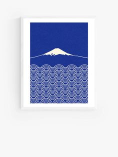 Rosi Feist - Waves & Fuji Wood Framed Print, 52 x 42cm, Blue at John Lewis & Partners Mount Fuji, Japanese Patterns, Wall Hooks, Bold Colors, John Lewis, Pop Art, Framed Prints, Tapestry, Fine Art