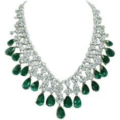 Magnificent Emerald Diamond Necklace at 1stdibs ❤ liked on Polyvore