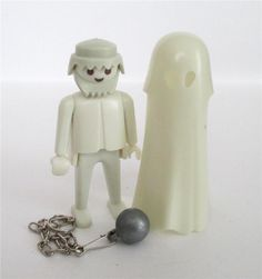 Playmobil Figure Vintage Glow-in-the-Dark Ghost 3317 Metal Ball and Chain Castle #PLAYMOBIL