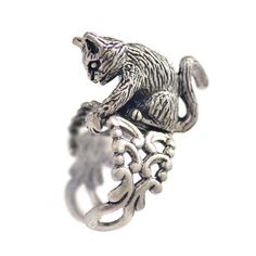 Cat Sculpture Ring Silver Cat Ring Kitten Ring Cat Jewelry