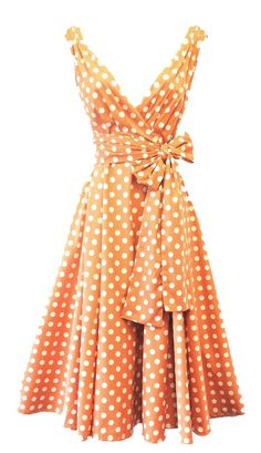 005a829d3 This beautiful 1950 s style dress is Peach with large polka dots and is  made from a