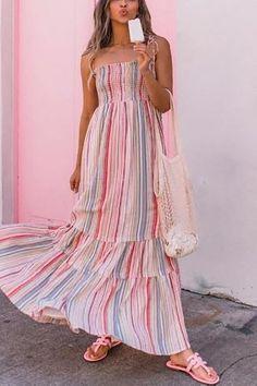 1f86813fba789 Casual Vacation Seaside Beach Bohemian Style Printing Sling Maxi Dresses