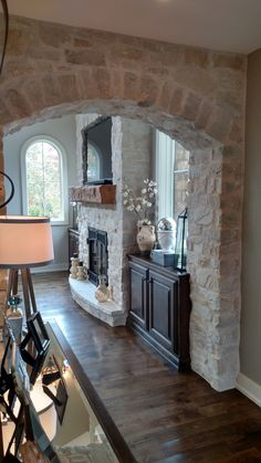 Stone Veneer Fireplace and Archway, Profiles, Country Ledge & Tuscan Fieldstone, color is Texas Cream