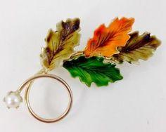 Vintage 1950'S Fall Leaves OAK Branch With Genuine Pearl Brooch PIN | eBay