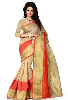 #Beige #Poly #Cotton #Konrad #Saree #nikvik  #usa #designer #australia #canada #freeshipping #saris