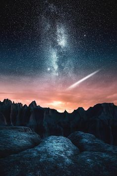 """Milky Way over Badlands National Park, South Dakota, USA. Photo by Jaxson Pohlman Photography"" Badlands National Park, National Parks, Landscape Photography, Nature Photography, Photography Night Sky, Ciel Nocturne, Photos Voyages, Milky Way, Night Skies"