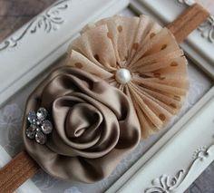 Ballerina Chiffon Flower Headband Brown Rosette by Beagonza, $8.99