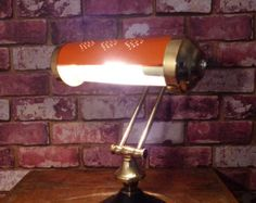 HARLEY DAVIDSON VINTAGE BANKER'S LAMP  RE-PURPOSED BANKER'S / PIANO LAMP FROM CIRCA 1940-1960 Piano Lamps, Desk Lamp, Table Lamp, Bankers Lamp, Solid Brass, Harley Davidson, Lighting, Vintage, Home Decor
