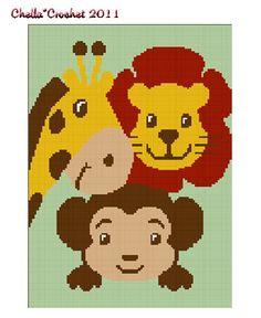Chella Crochet  Baby ZOO Jungle Safari Animals Afghan Crochet Pattern Graph. $3.75, via Etsy.
