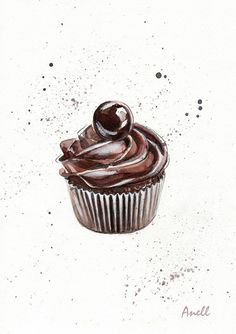 Chocolate Cupcake watercolor Print от AnellHappyWatercolor