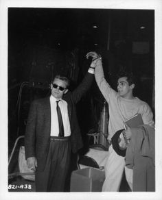 """James Dean and Perry Lopez during the """"Rebel Without a Cause"""", (1955) shoot."""