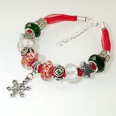 European Charm Bracelet Handmade Red Green White by BekisBeads