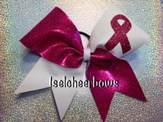 Breast cancer support cheer bow by Iselcheerbows on Etsy https://www.etsy.com/listing/115955931/breast-cancer-support-cheer-bow